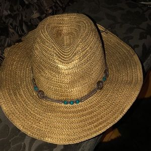 Panama Jack straw hat with leather & stone details